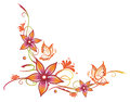 Flowers floral element orange pink with butterflies Royalty Free Stock Images