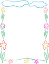 Flowers frame or border beautiful made from and nice clouds children hand drawn Stock Images