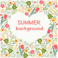 Flowers frame with colorful floral heart summer time theme. Royalty Free Stock Photo