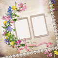 Flowers and frame on vintage background with lace Royalty Free Stock Photography