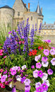 Flowers in front of castle Royalty Free Stock Photos