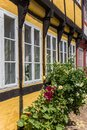 Flowers in front of a half timbered house in Ribe Royalty Free Stock Photo