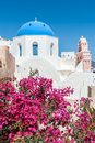 Flowers in front of an orthodox church in Santorini