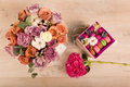 Flowers in a gift box Royalty Free Stock Photo