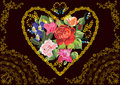 Flowers in gold heart shape frame Royalty Free Stock Images