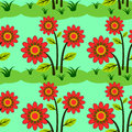 Flowers on grass seamless background design a for graphic element use Royalty Free Stock Image