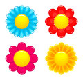 Flowers heads vector illustration on white background Royalty Free Stock Photos