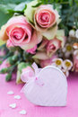 Flowers heart copy space Royalty Free Stock Photo