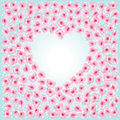 Flowers heart frame blossom spring on blue sky background Royalty Free Stock Photo