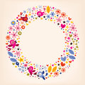 Flowers, hearts, birds love nature circle frame background