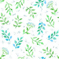 Flowers, herbs, meadow grass. Cute ditsy seamless pattern. Vintage watercolour Royalty Free Stock Photo