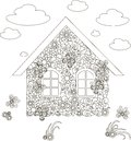 Flowers home, adult coloring page anti-stress stock