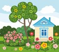 Flowers home summer colored flat illustration on the lawn stands a house a tree grows and blossoms the bush on the green grass Stock Photos