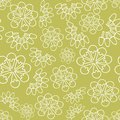 Vector green monochrome ice cream floral seamless pattern background.