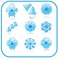 Flowers icon set Stock Image
