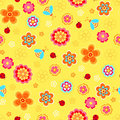 Flowers and Ladybugs Seamless Repeat Pattern Stock Photos