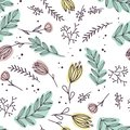 Flowers and leaves abstract colors in a cartoon style. Seamless vector wallpaper pattern on a white background.