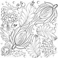 Flowers and leaves for colouring book