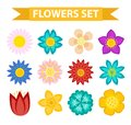 Flowers and leaves icon set, flat style. Floral collection isolated on white background. Spring, summer design elements Royalty Free Stock Photo