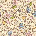 Flowers and leaves seamless pattern background vector elegant Royalty Free Stock Photo