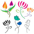 Flowers logo vector illustration of Royalty Free Stock Images