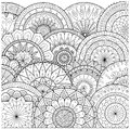Flowers and mandalas line art for coloring book for adult, cards, and other decorations Royalty Free Stock Photo