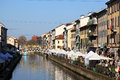 Flowers market milano panoramic view of navigli in italy this area is hosting the annual flower Stock Photography