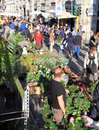 Flowers market milano people crowd look for and plants at annual flower in the characteristic design and and culture area of Stock Photos