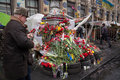 Flowers in memory of murdered on euromaidan ukrainian protests Stock Photography