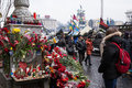 Flowers in memory of murdered on euromaidan ukrainian protests Stock Image