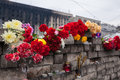 Flowers in memory of murdered on euromaidan ukrainian protests Royalty Free Stock Photography