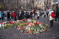 Flowers in memory of murdered on euromaidan ukrainian protests Royalty Free Stock Images