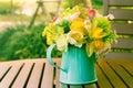 Flowers In Metal Vase