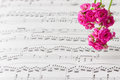 Flowers On Music Notes Sheet, ...