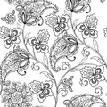 Flowers oriental ornament paisley for the anti stress coloring page. Royalty Free Stock Photo