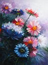 Asters - Oil painting on canvas