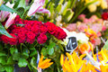 Flowers in outdoor shop closeup of european Royalty Free Stock Photo