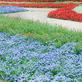 Flowers and paths beautiful flower beds walking Stock Photo