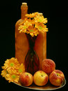 Flowers and peaches, still life Royalty Free Stock Photo