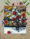 Flowers, picture oil paints on a canvas Royalty Free Stock Photo