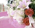 Flowers on pink foreground bouquet of with shadow with shadow Royalty Free Stock Image