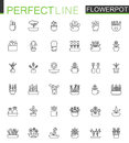 Flowers in pots thin line web icons set. Outline stroke icon design.