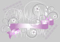 Flowers and purple ribbon on a gray background Royalty Free Stock Photo