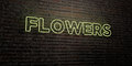 FLOWERS -Realistic Neon Sign on Brick Wall background - 3D rendered royalty free stock image