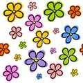 Flowers repetitive tile seamless hand draw vivid colored on white tiled background Stock Photo
