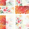 Watercolor bouquet flowers with colorful openwork. Seamless pattern on a white background.