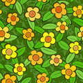 Flowers Seamless Vector Repeat Pattern Royalty Free Stock Images