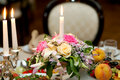 Flowers served on the table in restaurant Stock Photography