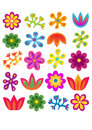Flowers set color pattern Stock Photography