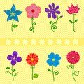 Flowers set colorful different collection vector ellements Royalty Free Stock Image